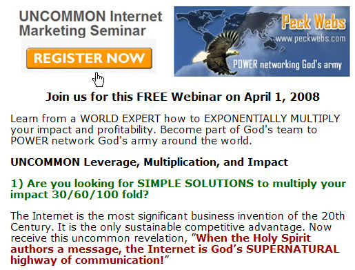 Register for UNCOMMON Internet Marketing Seminar on April 1, 2008