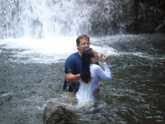 Soul Purpose Church baptism by waterfall